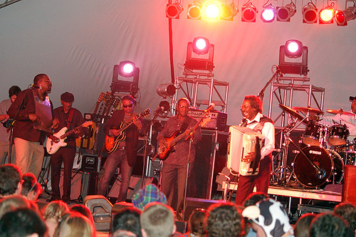 Buckwheat Zydeco begins their set live on WWOZ