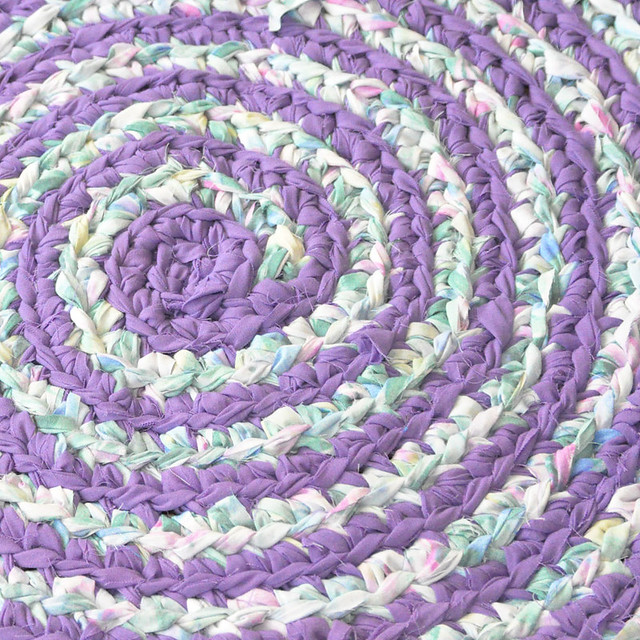 Lilacs in Bloom Crochet Rug Detail