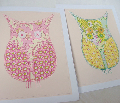 Pair of owl pictures, sewn paper