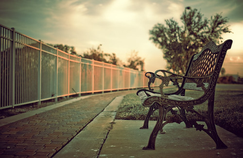 park summer sky tree canon fence bench eos spring afternoon path victorian sidewalk lonely conversation stroll