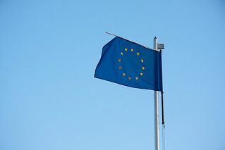 Worn out European Union blue flag. Photo: Horia Varlan