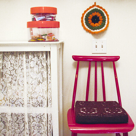 Thrifted chair and potholder