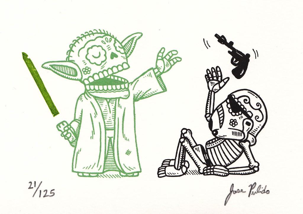 Yoda Calavera Gocco Print