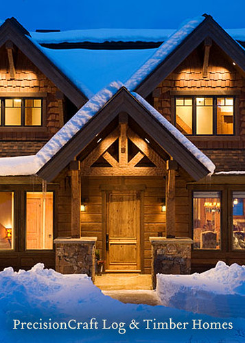 Entrance To A Timber Frame Home Located In Idaho