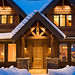 Entrance to a Timber Frame Home | Located in Idaho | PrecisionCraft Timber Homes