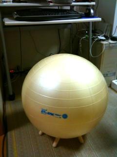 バランスボールはこんな感じで設置。AmazonでトレーニングDVDも注文したよ