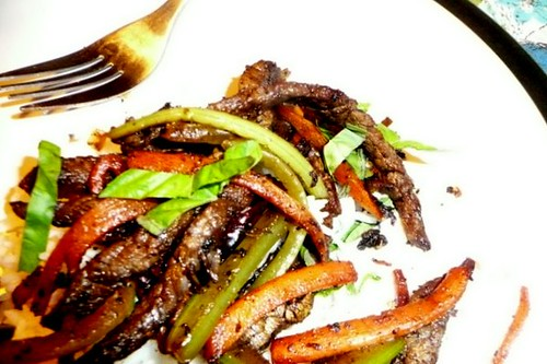 dry fried beef