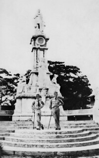 US Soldiers at the Rizal Monument at Plaza Pershing in Zamboanga City, 1930s Philippines