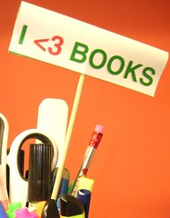 signpost saying i love books
