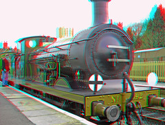 Steam locomotive No.592 at Kingscote station 3D anaglyph red blue (or cyan ) glasses to view