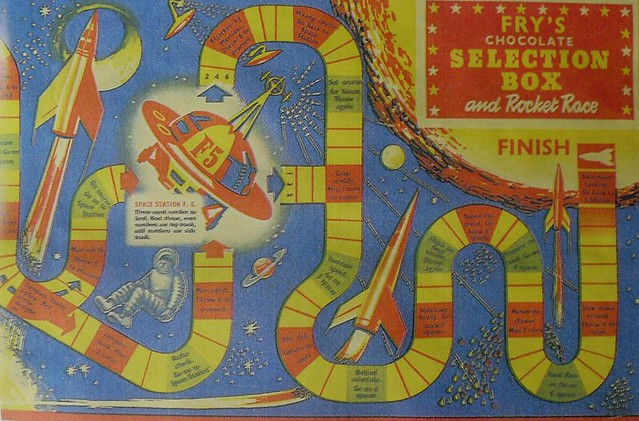 1957 FRYS CHOCOLATE CANDY BOX 1950s OUTER SPACE ROCKET RACE GAME vintage illustration graphics