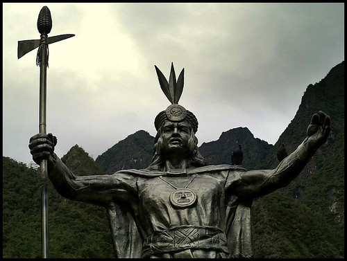 emperor of the Incas Pachacuti in Machupicchu Pueblo in Peru.