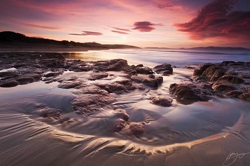 ocean light seascape clouds dawn for coast sand rocks surf little m tasmania rebounds nikond700