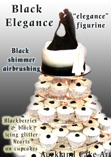 BLACK & WHITE ELEGANCE WEDDING CAKE AND CUPCAKES