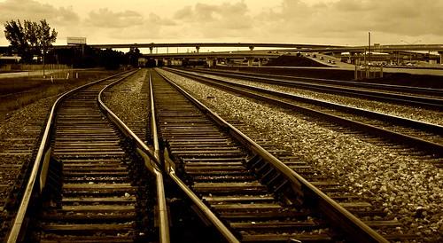 old railroad sky cars sepia train vintage rocks florida tracks i95 nikond5000 convertingtracks