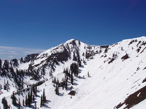 The summit of Spanish Fork Peak from the ridge.
