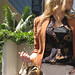 70's+Vintage Rust Blazer+Louis Vuitton Bag+Blond waves+khakis+closeup-2
