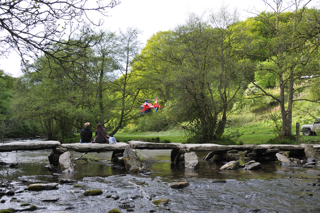 Devon Air Ambulance at Tarr Steps, Exmoor
