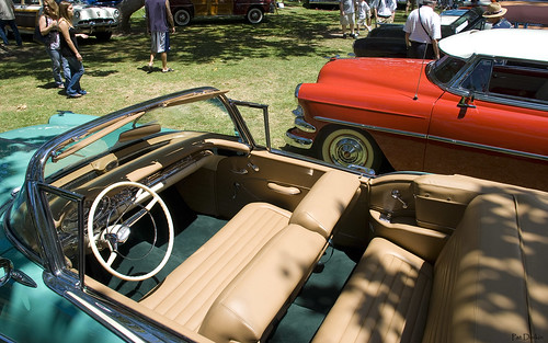 1957 Oldsmobile S 88 Convertible with top down - turquoise - interior