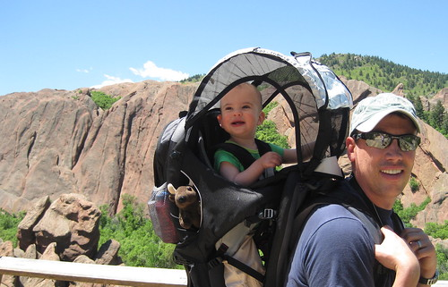 Having fun hiking with Daddy and Buddy in Roxborough State Park, CO