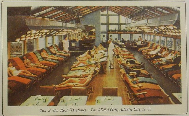 1950s ATLANTIC CITY new jersey VINTAGE POSTCARD Sun Roof THE SENATOR HOTEL
