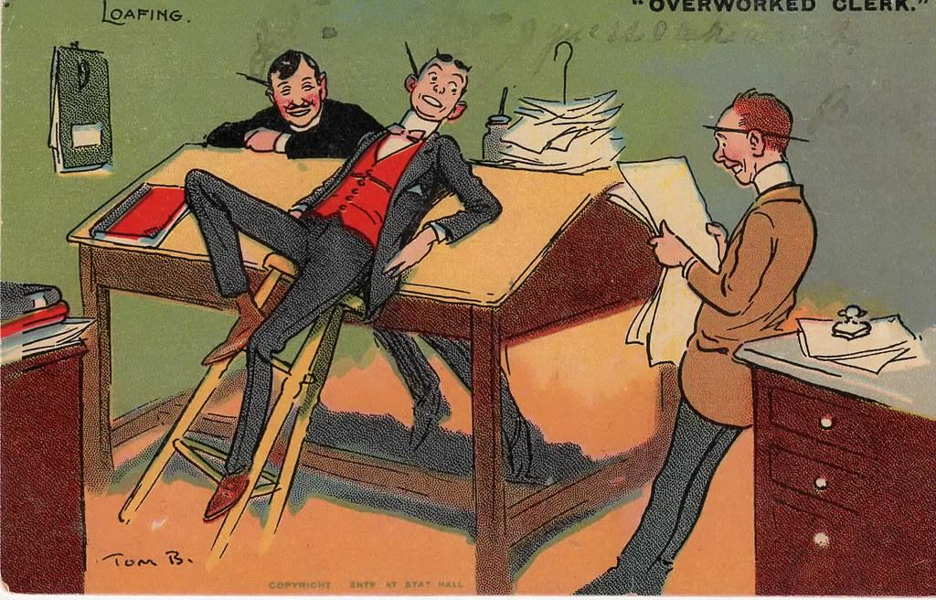 Tom Browne Overworked Clerk
