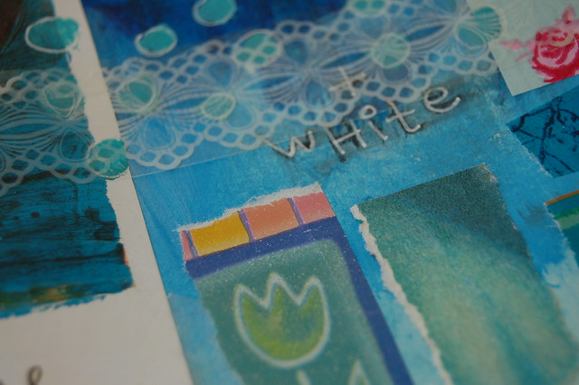 Turquoise tulip and white lace tape