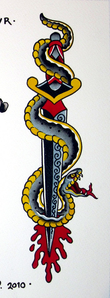 Jeff p snake dagger for Snake and dagger tattoo