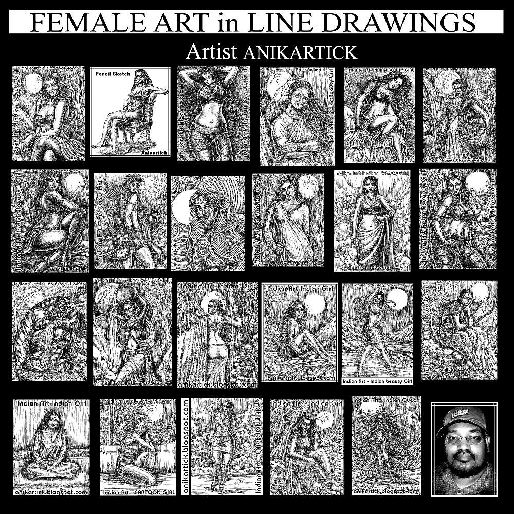 Female art in my line drawings artist anikartick chennai tamilnadu