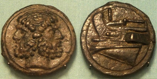 36/1 cast Aes Grave As Janus Prow two coins of same type on display in the British Museum