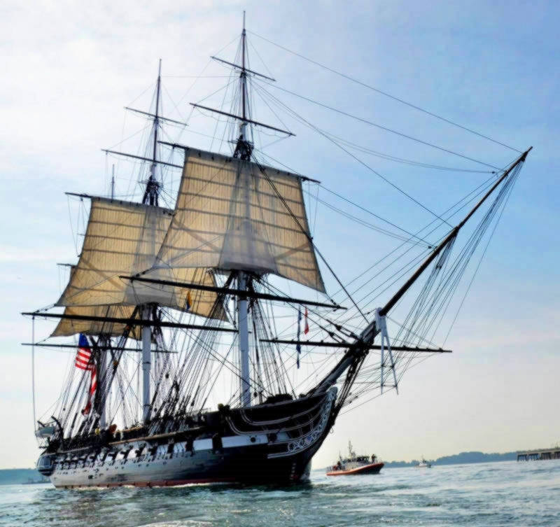 USS Constitution at sea in Boston Harbor. Credit Hunter Stires