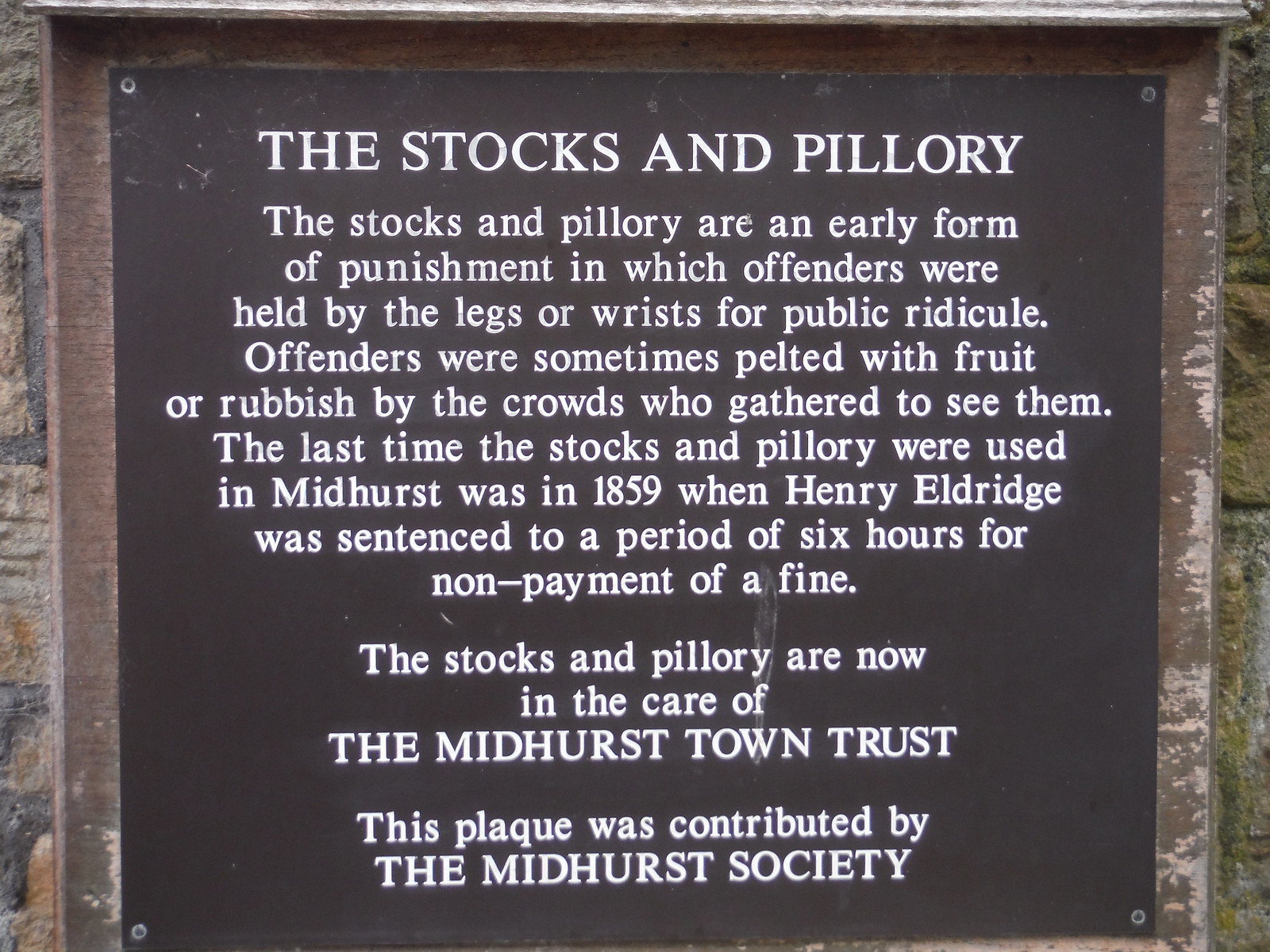 Stocks & Pillory (sign), Midhurst SWC Walk 218 Haslemere to Midhurst (The Midhurst Way)