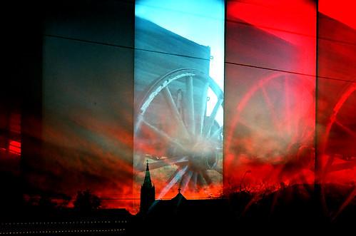 sunset red film church wheel silhouette lomo supersampler texas chaos random dusk toycamera calm multipleexposure comfort mayhem happynewyear 2010 fburg fbg filmforever plasticgel randomlycomposed