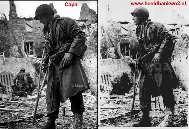 Montage de deux photos du Lt-Col. Benjamin Vandervoort à Saint-Sauveur-le-Vicomte