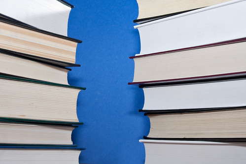 Two parallel stacks of books on blue background