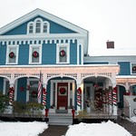 Dwight Loomis home, circa 1860 in Rockville, CT. Christmas Decor with snow (December 2009)
