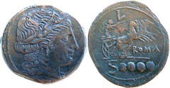 97/16 Luceria L Dextans. Italian civic mint. Ceres; L / Victory in quadriga / ROMA / Soooo. RBW 21g19. Shares obverse die with heavy ANS example RRC 97/9.