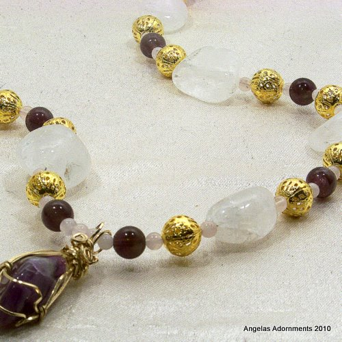 Chunky Crystal and Amethyst Necklace