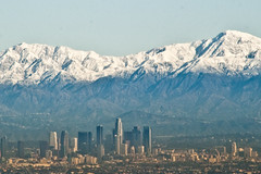 Downtown Los Angeles with Snow