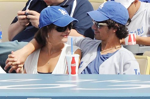 Jonas Brothers and Camilla Belle at Dodgers Game