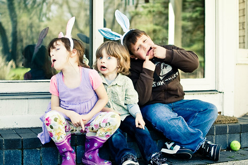 this is how they acted while easter egg hunt instructions were given...