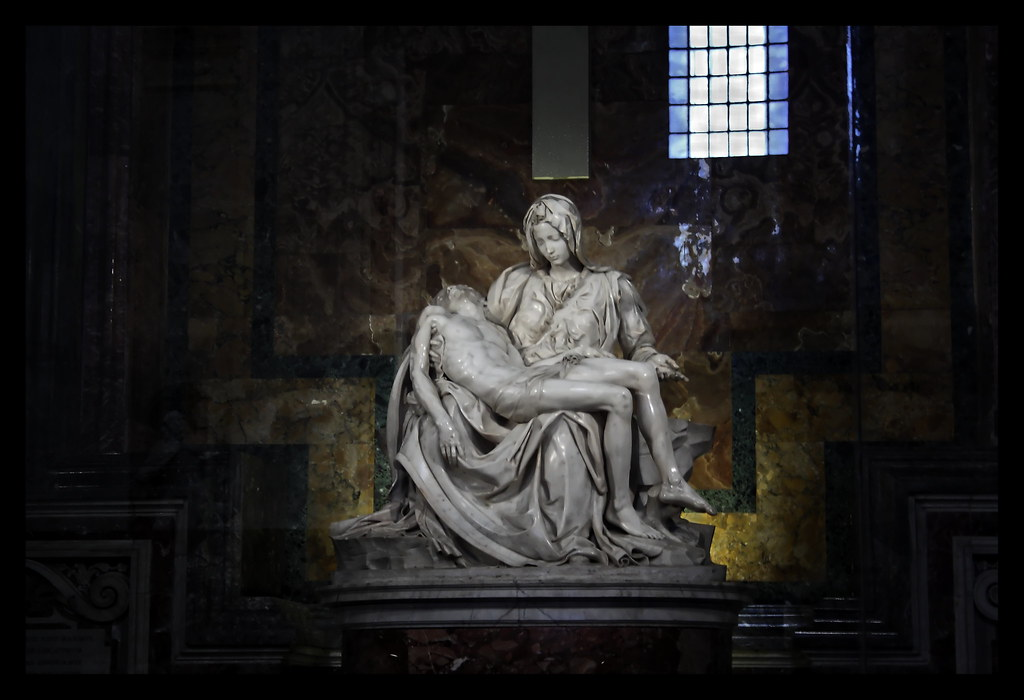 Basilica di San Pietro in Vaticano. Michelangelo's Pietà, a depiction of the body of Jesus on the lap of his mother Mary after the Crucifixion, was carved in 1499, when the sculptor was 24 years old.  © All rights reserved René Eriksen Contact: reeri@rocketmail.com