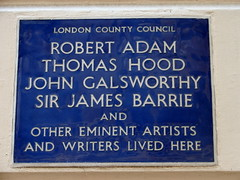 Photo of Robert Adam, J. M. Barrie, John Galsworthy, and Thomas Hood blue plaque