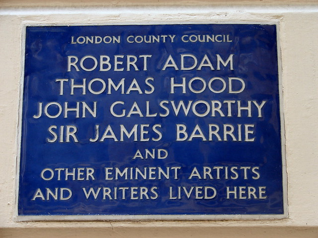 Robert Adam, J. M. Barrie, John Galsworthy, and Thomas Hood blue plaque - Robert Adam, Thomas Hood, John Galsworthy, Sir James M. Barrie and other eminent artists and writers lived here