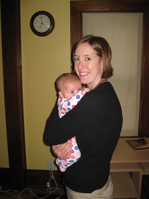 Mom and Annie before the first day of work/daycare