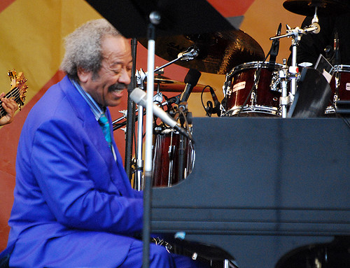 Allen Toussaint plays a rollicking set on the Acura Stage on the second Friday of Jazz Fest