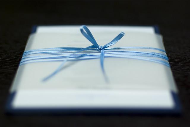 Navy Blue White Wedding Invitations