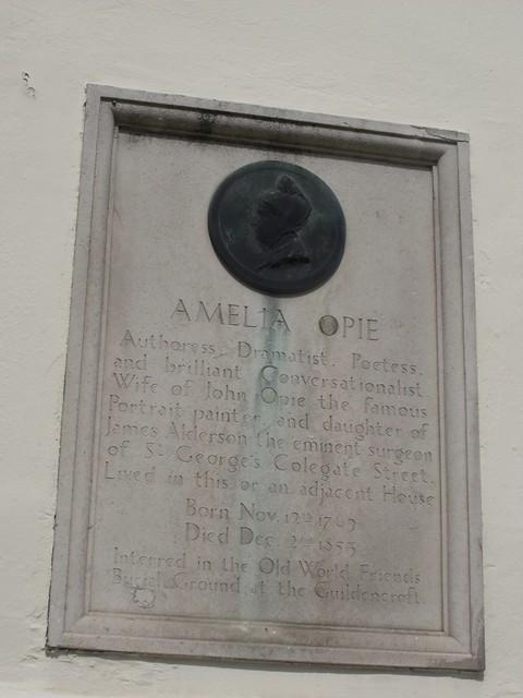 Photo of Amelia Opie stone plaque