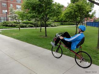 Me on the Volae recumbent bike