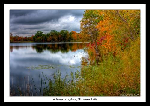 travel autumn trees usa reflection fall water minnesota landscape roadtrip avon hdr indiansummer newyorktosanfrancisco achmanlake